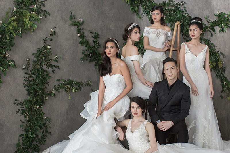 "World-renowned Filipino designer Francis Libiran with models in his ""Affaire de Coeur"" bridal collection. Photo release"
