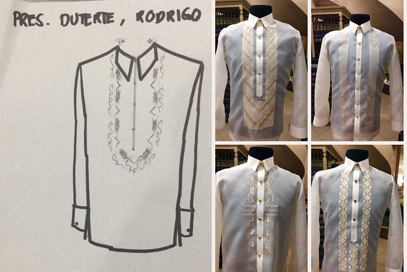 Designer Bonie Adaza's designs for Pres. Rodrigo Duterte's SONA. Bonie Adaza/Released