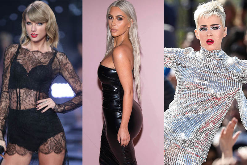 Taylor Swift,KimKardashian, andKaty Perry might not like each other, but they all agree: blonde is big this 2017. From left:Taylor Swift performs alongside models at the Victoria's Secret fashion show in London, Tuesday, Dec. 2, 2014. (Photo by Joel Ryan/Invision/AP); Kim Kardashian attends the Tom Ford show as part of NYFW Spring/Summer 2018 on Wednesday, Sept. 6, 2017 in New York. (Photo by Charles Sykes/Invision/AP);Katy Perry performs during 'Katy Perry - Witness World Wide' exclusive YouTube Livestream Concert at Ramon C. Cortines School of Visual and Performing Arts on Monday, June 12, 2017, in Los Angeles. (Photo by John Salangsang/Invision/AP)