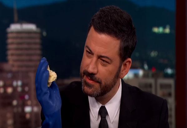 """It's on the line between horrible and delicious,"" Kimmel said after eating durian. Youtube Screengrab"