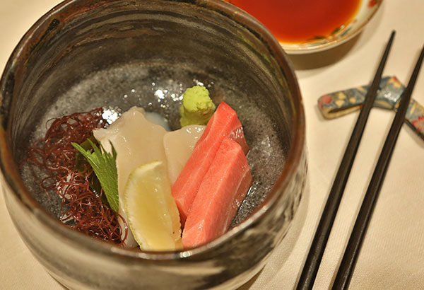 Delectable ootoro and hotate sashimi in a 250-year-old Edo bowl.