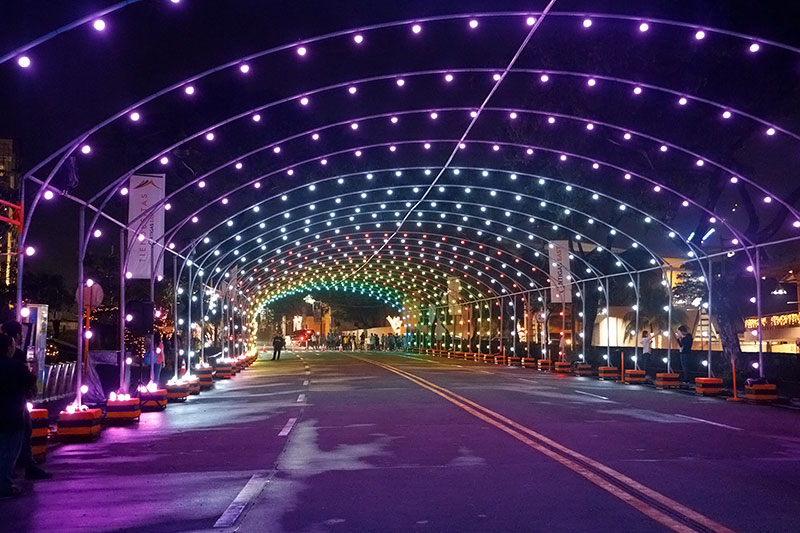 the christmas musical street light tunnel with 2368 pixels of light is a real sight