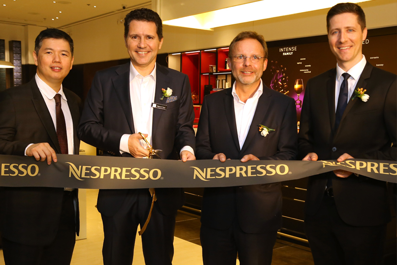 The Ribbon Cutting Was Led By From Left Novateur Coffee Concepts Managing Director Patrick Pesengco Nespresso Head Of Asia Renaud Tinel