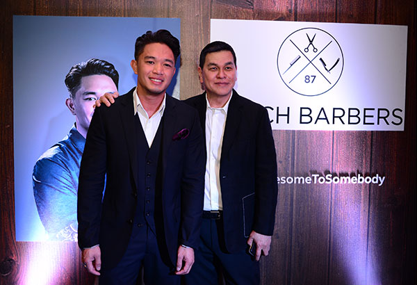 "Celebrity hairstylist Mark Bustos with Bench founder Ben Chan: ""I've cut Ben Chan's hair. I've done it in a chair in his kitchen in New York, Filipino-style... I can pretty much pick and choose who gets to sit in my chair at this point in my career. I pride myself on having all the coolest people to sit in my chair."