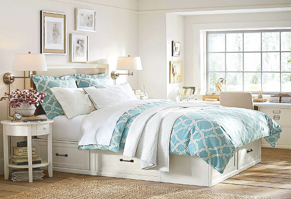 And So To Bed: Comfortable And Layered Pottery Barn Bed And Linens In  Summer Colors; On The Floor, A Sisal Rug. The PB Trademark Is Casual,  Comfortable And ...