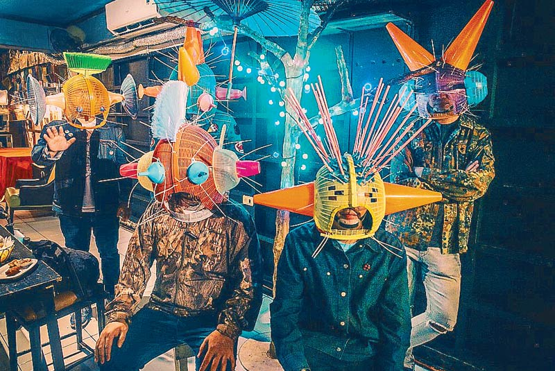 The Aliens of Manila space helmets, designed by Leeroy New, were used by Pedicab during their shoots and gig performances.