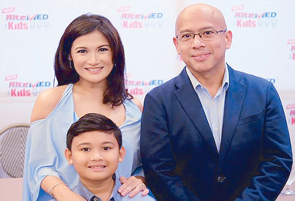 Camille and son Nathan with Rite-MED general manager Vincent Patrick Guerrero. The endorsement of health care products jibes with her primordial concerns as a mother