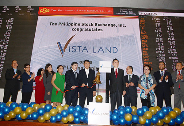 Vista Land marks 10TH listing anniversary: Vista Land & Lifescapes Inc. celebrated its 10th anniversary as a listed company in the Philippine Stock Exchange with the ceremonial ringing of the bell to start trading.  In photo are (from left) Vista Land independent directors Ruben Fruto, Marilou Adea, chief finance officer Cynthia Javarez, managing director Camille Villar, Senator Cynthia Villar,  president and CEO Manuel Paolo Villar, chairman Manuel Villar Jr.,  and PSE chairman Jose Pardo, president Ramon Monzon, director Vivian Yuchengco, chief operating officer Roel Refran, and director Alejandro Yu.