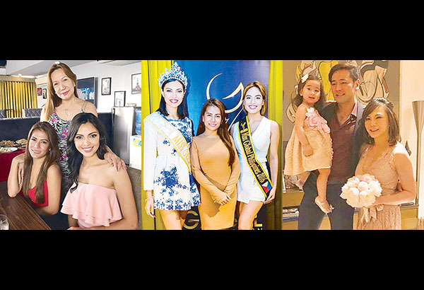 Right: 2016 Miss Global Angela Maritza Bonilla (right) with the pageant executives Rizza Lao (standing) and Pauline Sofia Laping. Center: With Pauline and reigning Miss Global Philippines Camille 'CJ' Hirro (right). Far right: Dr. Vicki Belo and brand-new legal husband Dr. Hayden Kho with daughter Scarlet Snow during their civil wedding at home.