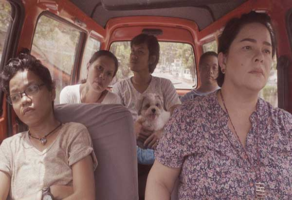 Jaclyn Jose (rightmost) leads the cast of the Cebuano road-trip comedy Patay na si Hesus including (from left) Chai Fonacier, Mailes Kanapi, Melde Montañez and Vincent Viado     — Photos from the film's Facebook page