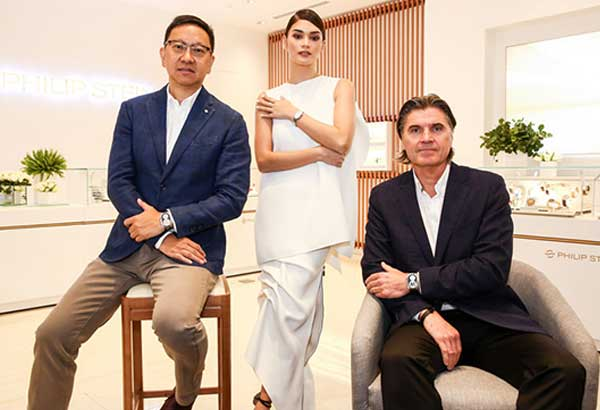 "Harmonic trio: Lucerne managing director Emerson Yao, the newest Philip Stein brand ambassador and Miss Universe 2015 Pia Wurtzbach, and Philip Stein president Will Stein. Philip Stein and Lucerne recently opened their 19th store in the country at the Solaire Resort & Casino. ""Lucerne's partnership with Philip Stein,"" according to Emerson, ""is a collaborative one."""