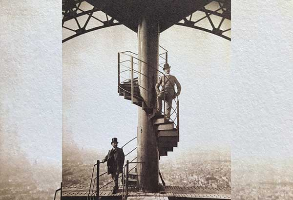 French visionary: Eiffel Tower engineer Gustave Eiffel poses on the tower's original staircase, which was taken out in 1983.Vintage photos courtesy of the COLLECTION GUSTAVE EIFFEL