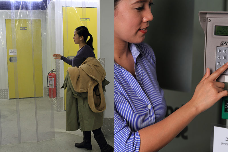 Left: Climate-controlled units for sensitive items. Right: A PIN code terminal required to enter the facility.
