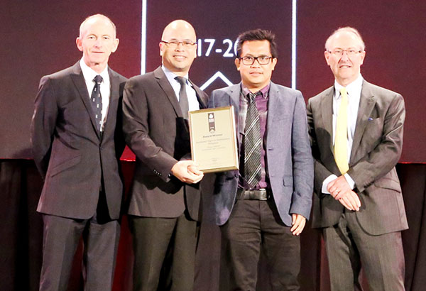 International Property Awards president Stuart Shield, Robinsons Communities head of sales Ferdinand Adriano, Chimes Greenhills project management head architect Glenn Encarnacion and International Property Awards chairman of judging for the real estate category, Lord Richard Best during the International Property Awards Asia Pacific 2017 awarding ceremony in Bangkok, Thailand.