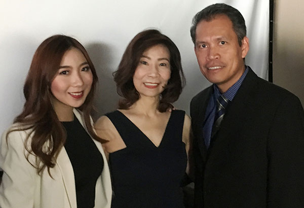 Karimadon head designer and merchandising manager Embi Nicolas and CEO Josie Go with Philippine Consulate in Vancouver, Canada Consul General Neil Frank Ferrer