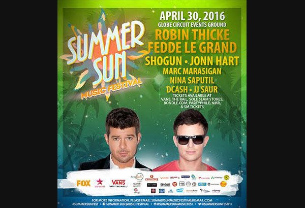 SUMMER SUN MUSIC FESTIVAL 2016 featuring Robin Thicke, Fedde Le Grand, Shogun, and John Hart on April 30 with top local DJs Marc Marasigan, D+Cash, JJ Saur, and Nina Saputil at CIRCUIT EVENTS GROUND, Circuit Makati, Makati City presented by Driven Manila Production. Co-presented by FOX, Starworld, and Vans.