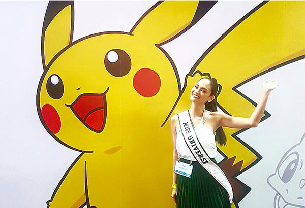 Miss Universe 2015 Pia Wurtzbach poses with Pikachu. Facebook/Miss Universe