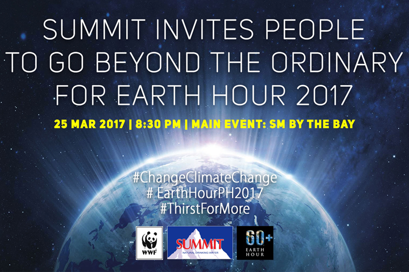 Summit's participation in and partnership with Earth Hour Philippines is in line with its Thirst for More campaign. Summit/Released