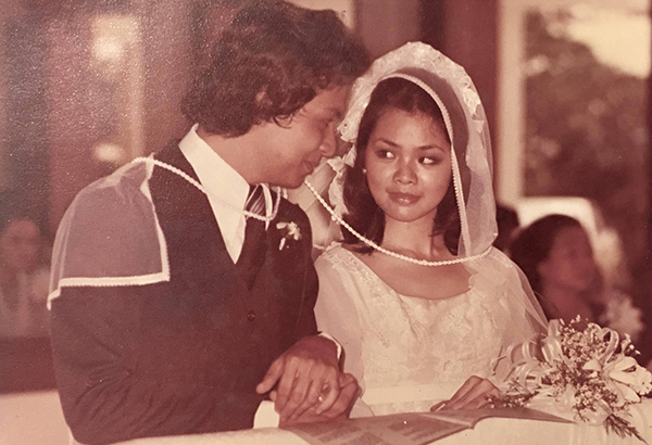 The author Jim Paredes and wife Lydia Mabanta on their wedding day.