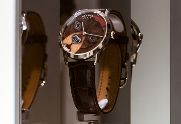 Inspired by an Hermès silk scarf, the Grrrrr watch features the handpainted work of artist Alice Shirley