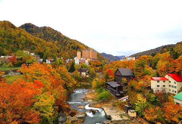 Autumn in Hokkaido: The Jozankei hot springs, an hour from Sapporo, is a popular wellness attraction to ease stress and eliminate toxins from the body.