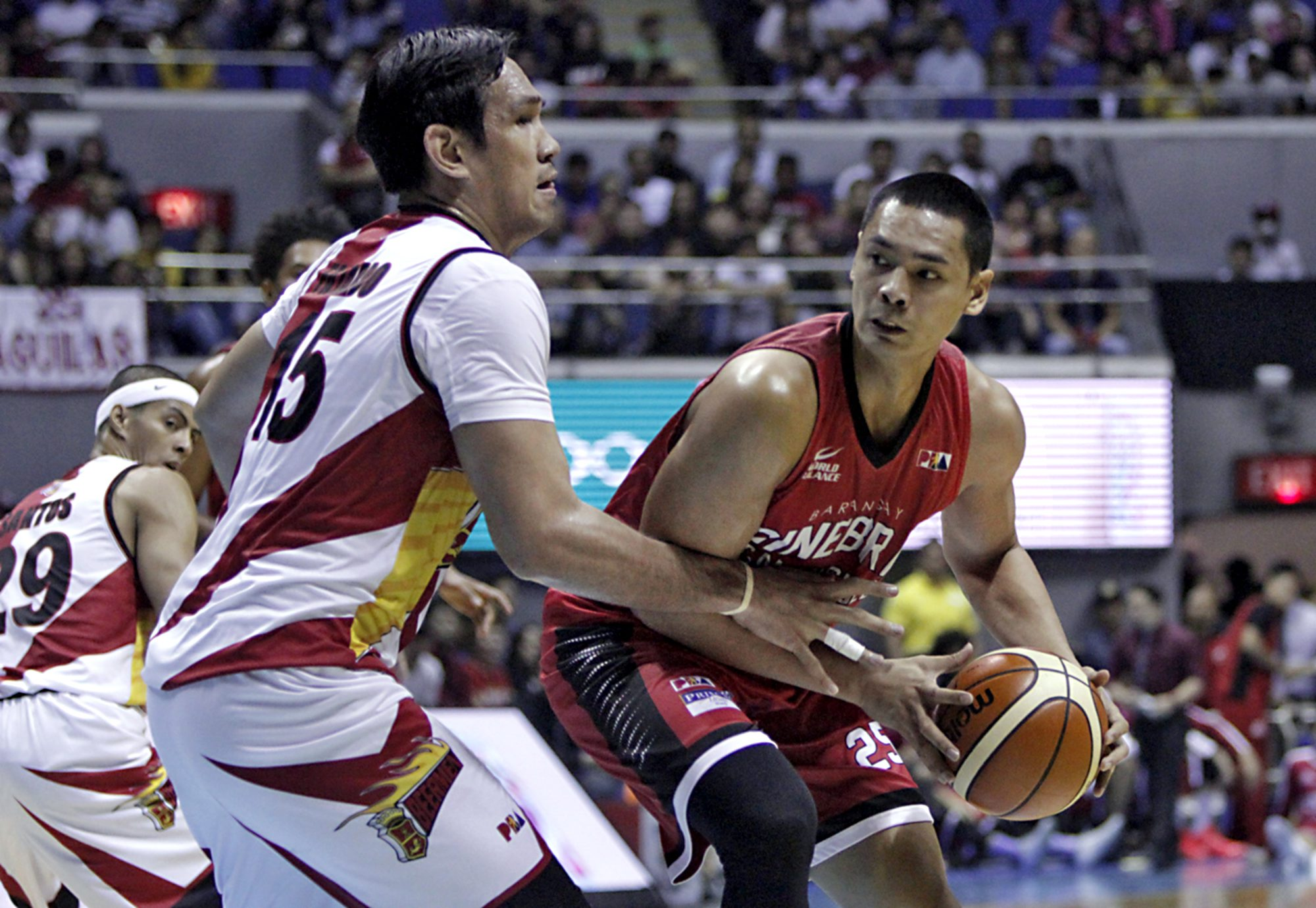 PLAYOFFS KEY FIGURES: Behemoths Japeth Aguilar of Barangay Ginebra and June Mar Fajardo of San Miguel Beer are expected to carry the loads for their respective teams in the title series.