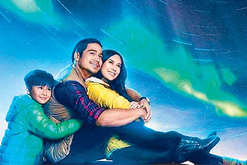 Northern Lights, starring Raikko Matteo, Piolo Pascual and Yen Santos, with the natural phenomenon in the background.