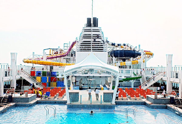 Water wonderland: The pool area on the upper decks will keep you busy for an entire day.