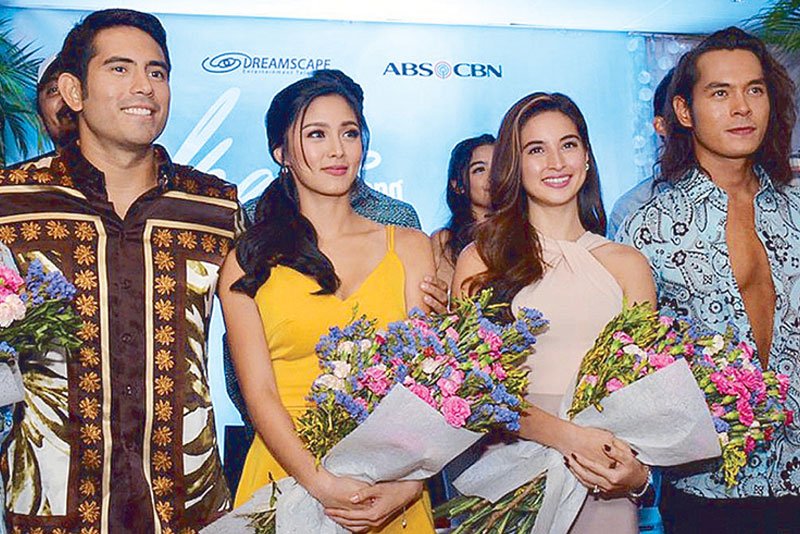 Kim Chiu and Gerald Anderson (third and fourth from right, respectively, with co-stars Coleen Garcia and Jake Cuenca) reunite in the ABS-CBN daytime soap Ikaw Lang Ang Iibigin that will air weekdays beginning May 1 before It's Showtime.