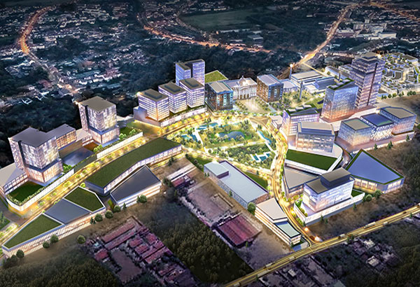 Artist's aerial perspective of Capitol Town in Pampanga.