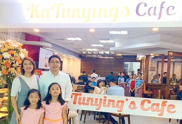 Anthony Taberna and his wife Rossel with their daughters at the family-owned Ka Tunying restaurant on Timog Avenue, Quezon City (right across from the GMA Studio/office)