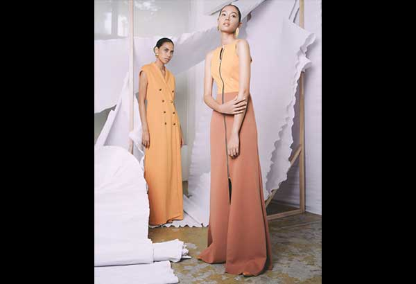 Channel Orange: Citrus hues and floor-grazing silhouettes offer a fresh take on office dressing.