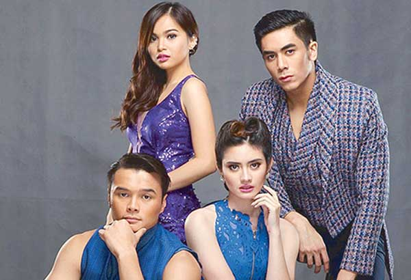 With co-stars (from left) Ayra Mariano, Jazz Ocampo and Bruno Gabriel