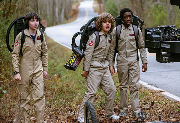 Who you gonna call: The boys dress up as the Ghostbusters in the second season of Stranger Things.