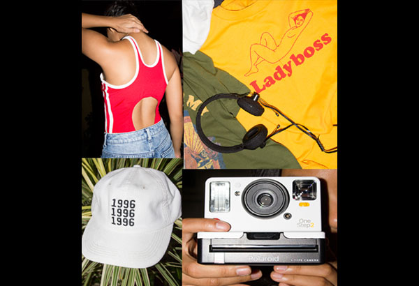 Throwback: Sandy Cheeks bodysuit in red (P1,900, available at @wear_sandycheeks), Polaroid Originals OneStep 2 i-Type camera (P8,990), Coloud No. 8 headphones (P1,450, available at Digital Walker), Strange Mercy graphic tees (from P600, available at @strvngemercy on Instagram), 1996 cap (P299, available at Oxygen)