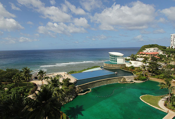 Surf and sky: A direct flight from Manila via Cebu Pacific take you to this bird's eye view of Sheraton Laguna Hotel's pools in Guam.