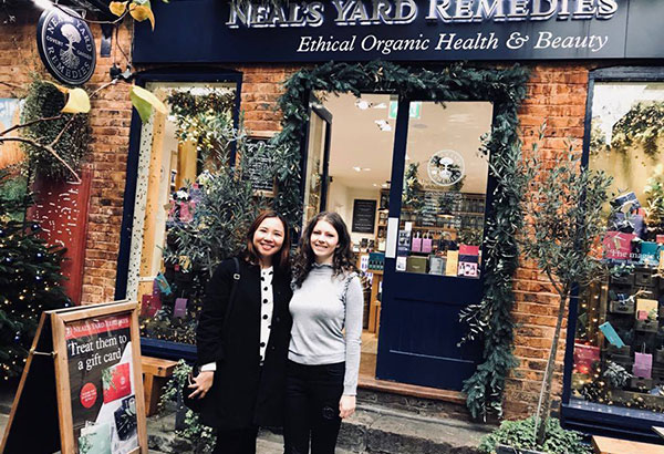 The author with Neal's Yard international assistant Amy Wise at Neal's Yard Remedies, Covent Garden in London.