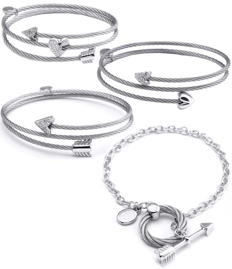 0ae3f184552 Emblematic of the brand Charriol are the bangles from the collection. Made  of twisted steel cable that's set with white topaz, the design adds a sense  of ...
