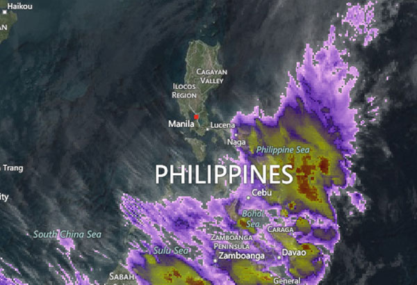 Satellite image showing the ongoing low pressure area over the Philippines as of Monday morning. AccuWeather screengrab