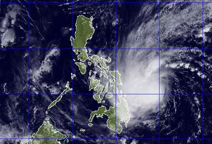Satellite image rendering shows the weather disturbance over the Philippines as of Friday, 10:30 a.m. NEXSAT/US Navy