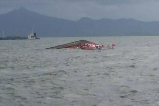 A passenger boat with 173 passengers capsized shortly after leaving the Ormoc port on Thursday. Serbisyo Publiko sa Radyo/John Kevin Pilapil