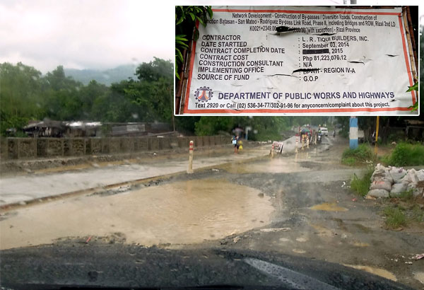 Photo shows the unfinished road project in San Mateo, Rizal. Inset shows the billboard containing details about the project.