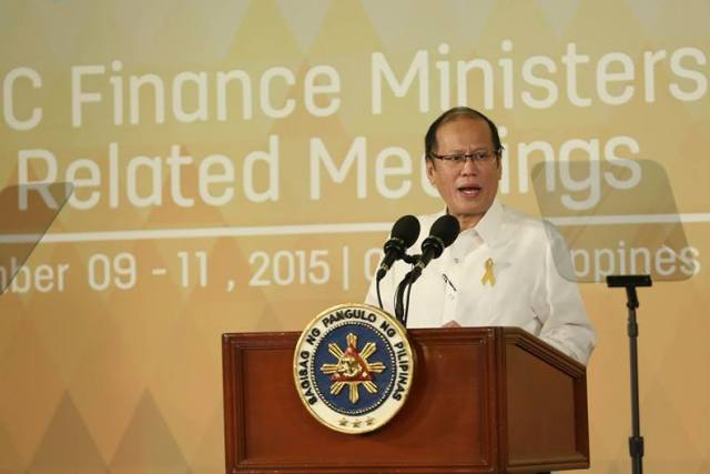 President Aquino III addresses Asia Pacific Economic Cooperation finance ministers at the start of their APEC 2015 meet on Thursday, Sept. 10, 2015 in Cebu City. Malacañang Photo Bureau