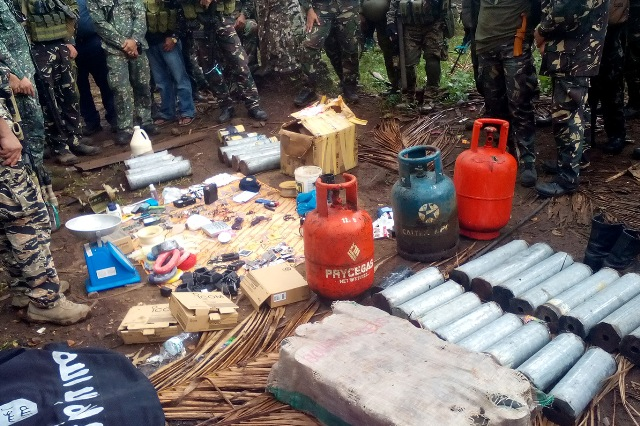 Different types of improvised explosive devices (IEDs), including the liquefied petroleum gas (LPG) tanks, assembled by the Abu Sayyaf group that were recovered by the military troops during operation in Mohammad Ajul town, Basilan last May. The same LPG tanks containing IEDs were intercepted by the military troops last Friday in Ungkaya Pukan town. Philstar.com/Roel Pareño