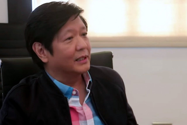 """""""Wala akong problema sa kanya... We've been friends for years,"""" says Sen. Bongbong Marcos about Davao City Mayor Rodrigo Duterte in an interview with the STAR on Feb. 8, 2016. Philstar.com/screenshot"""