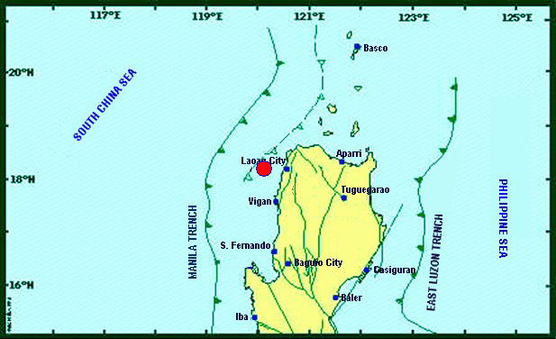 A magnitude 5.5 earthquake jolted Laoag City on Saturday noon.Phivolcs
