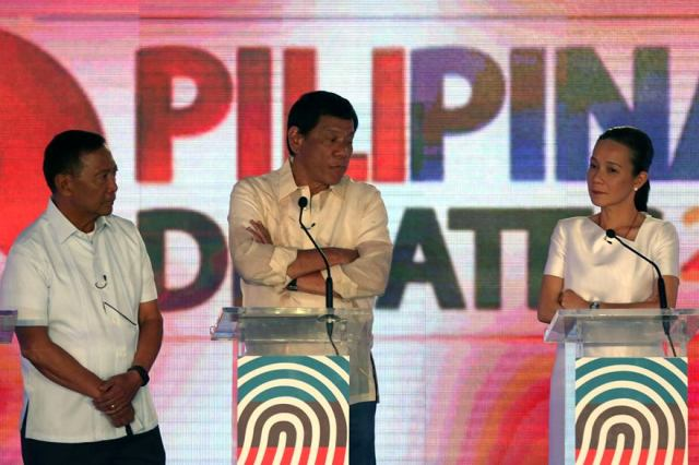Presidential candidates Jejomar Binay, Rodrigo Duterte and Grace Poe participate in second round of the scheduled three presidential debates on Sunday, March 20, 2016 in Cebu City. KJ Rosales/Philippine Star, pool