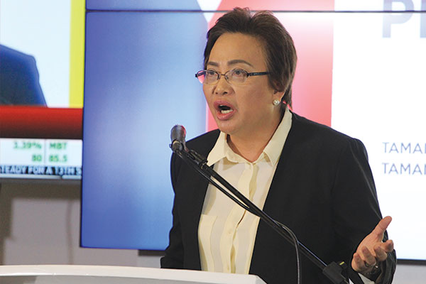 """Thank God that the results of the elections were not altered as a result of their (Smartmatic) unauthorized action,"" Elections Commissioner Rowena Guanzon said in a press conference on Friday. Philstar.com/Efigenio Toledo IV"