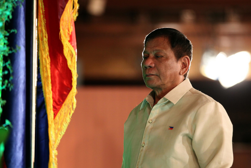 In this June 30, 2016, President Rodrigo Duterte makes his way to the podium at his inauguration at Malacañan. On Thursday, Feb. 2, 2016, Duterte said he is not inclined to appointing a Philippine ambassador to the United States. PPD