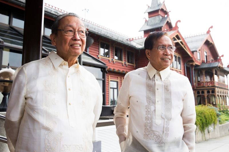 At the start of Philippine peace negotiations hosted by Norway government, Monday Aug. 22, 2016, in Oslo, Norway, with Jose Maria Sison of the National Democratic Front of the Philippines, left, and Philippine peace minister Jesus Dureza, as government officials and rebels participate in the peace negotiations. Berit Roald / NTB scanpix via AP, File